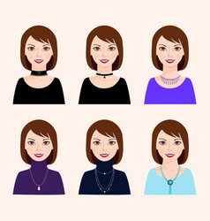 different types of costume jewellery vector image