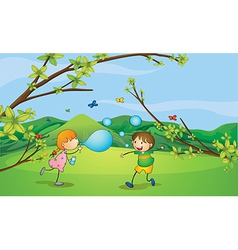 Kids playing blowing bubbles vector image vector image