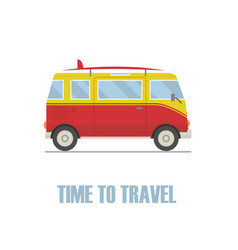 time to travel concept hippie van isolated vector image