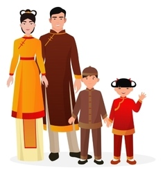 Chinese family Chinese man and woman with boy and vector image vector image