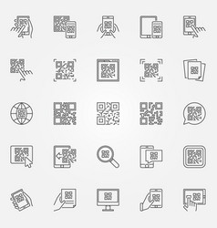 Qr code icons set collection of quick vector