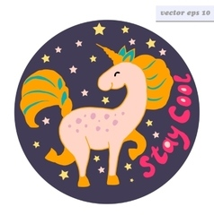 stay cool unicorn logo vector image vector image