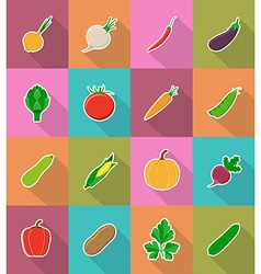 vegetables flat icons 18 vector image