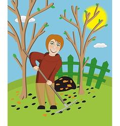 Woman with a rake cleans a garden vector