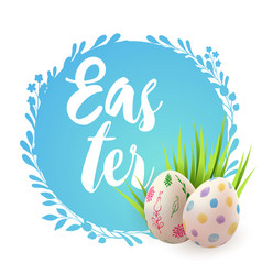 blue easter card with eggs vector image vector image