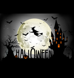 halloween background of witch on the full moon vector image vector image