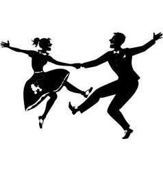 Rock and roll dancing silhouette vector image vector image
