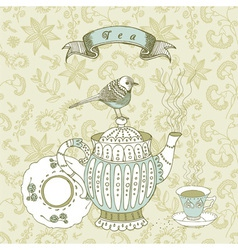Vintage Tea time Background vector image