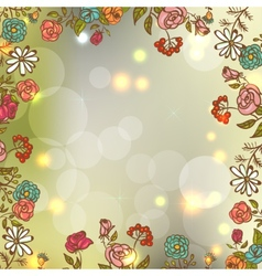 Flower Invitation Card Floral Frame with Ribbon vector image vector image