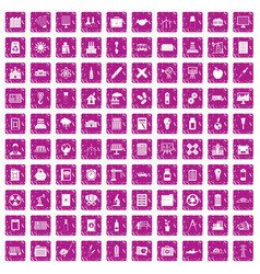 100 company icons set grunge pink vector