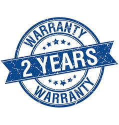 2 years warranty grunge retro blue isolated ribbon vector image