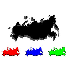 3d map of russia vector