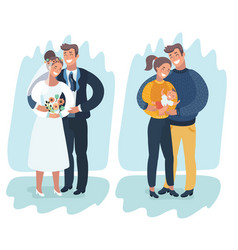 a happy married couple with a newborn baby vector image