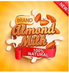 almond milk with almonds milky splash vector image