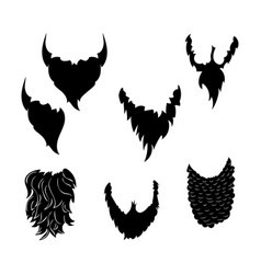 beards black silhouettes vector image