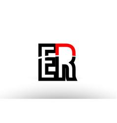 Black white alphabet letter er e r logo icon vector