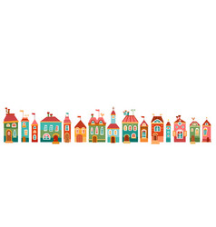 Border with cute house in children style vector