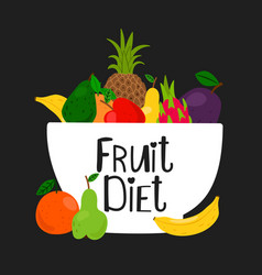 bowl with fruits isolated on black background vector image