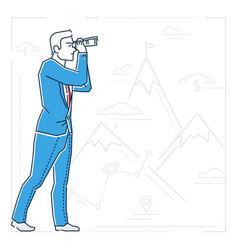 Businessman looking forward - line design style vector