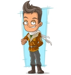 Cartoon cool pilot in leather jacket vector