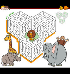 cartoon maze activity with safari animal vector image