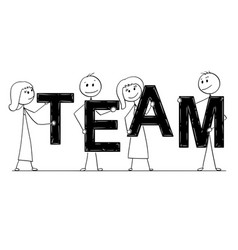Cartoon of business people holding word team vector