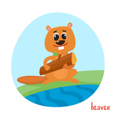 Cartoon of wild animal beaver vector