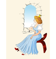 Charming princess sits at a window vector
