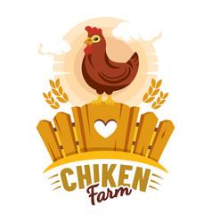 chicken farm label farmer organic product market vector image