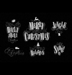 christmas letterings chalk vector image