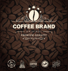 Coffee labels and coffee beans background vector