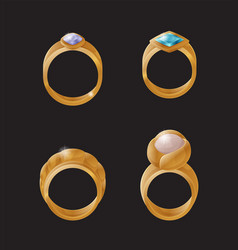 collection golden engagement rings precious stones vector image