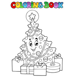Coloring book christmas thematics 2 vector