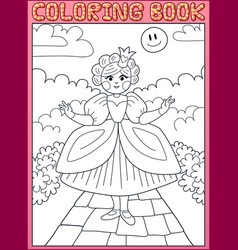 coloring book little princess on path vector image