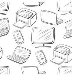 Computer equipment seamless pattern vector