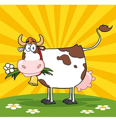 Cow in a paddock vector image vector image