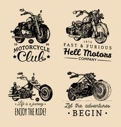 custom chopper and motorcycle logos set vintage vector image