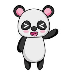 Cute and cheerful panda wild animal vector
