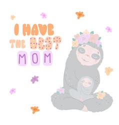 cute funny kawaii animals flat style vector image