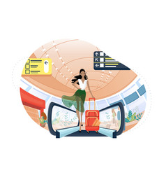 cute girl with luggage at airport vector image