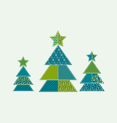 Cute traditional patchwork concept xmas tree vector