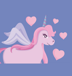Cute unicorn of fairy tale with hearts vector