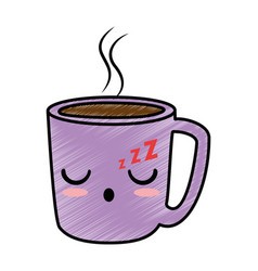 delicious coffee cup kawaii character vector image