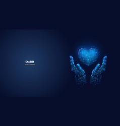 Digital hands and heart as charity concept vector