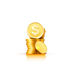 dollar coin with a bunch of coins vector image