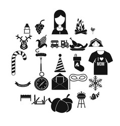 Family reunion icons set simple style vector