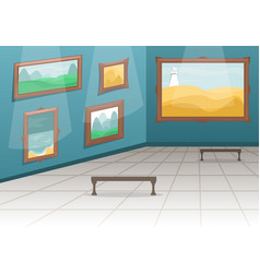 Fine arts museum hall with paintings vector