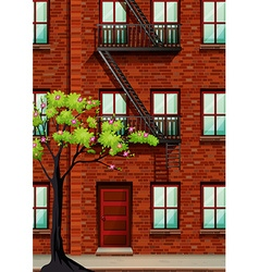 Fire escape on the apartment wall vector