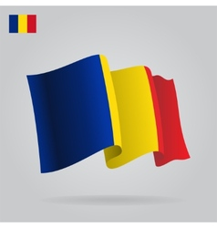 Flat and waving romanian flag vector