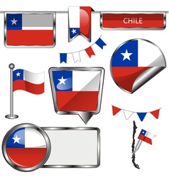 Glossy icons with Chilean flag vector